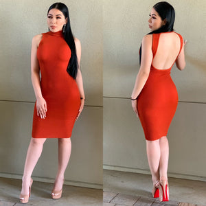 Doja Midi Dress (Burnt Orange)