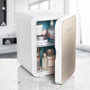 Multifunctional Mini Fridge for Makeup, Cosmetics, Creams or Moisturizers, Soda, Snacks, Compact and Portable for Bathroom, Bedroom, Dorm, Travel Use, Cool Chic Skincare Accessory, 6L (Champagne)