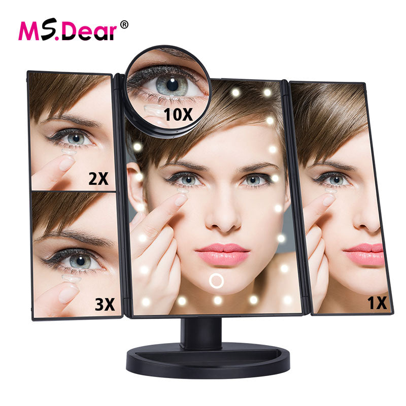 NEW 22 LEDs Folding Cosmetic Mirror