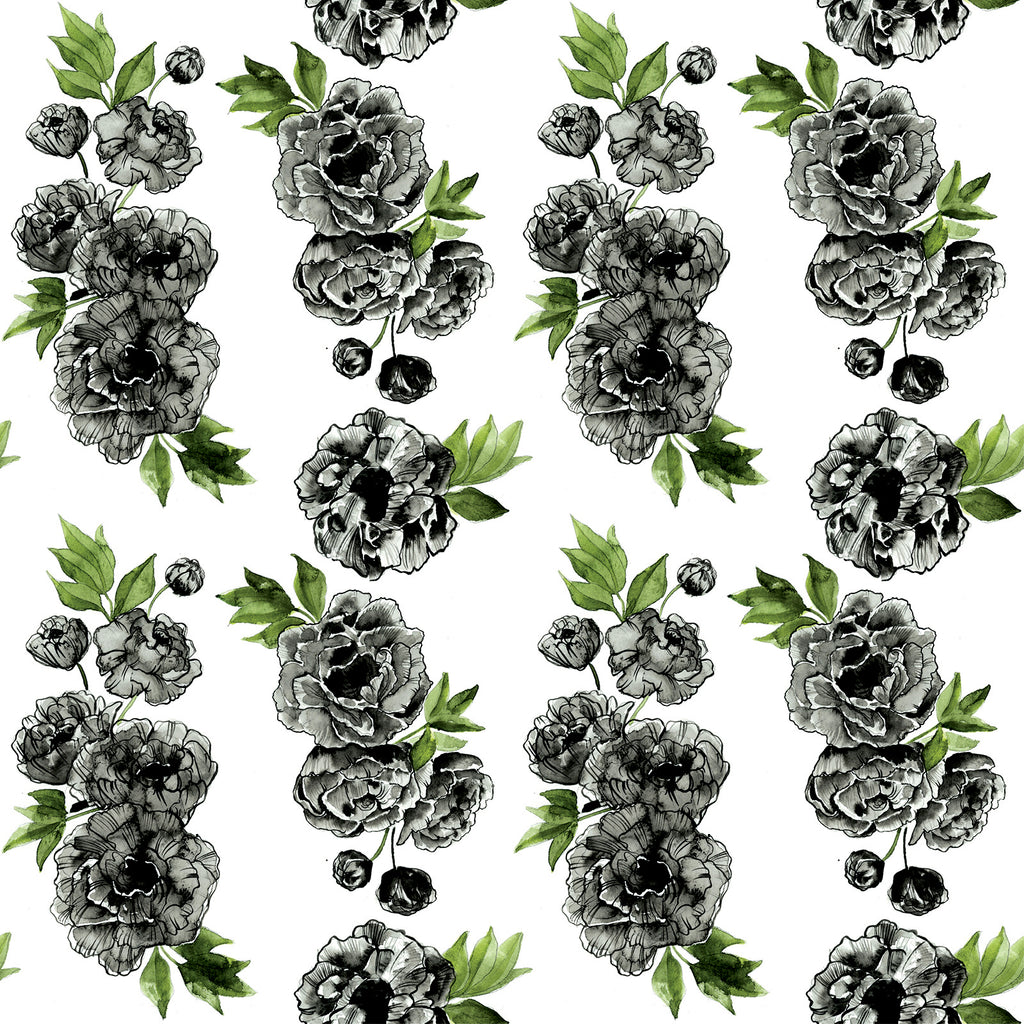 Black Peony Play Mat Nappies Designer Bums