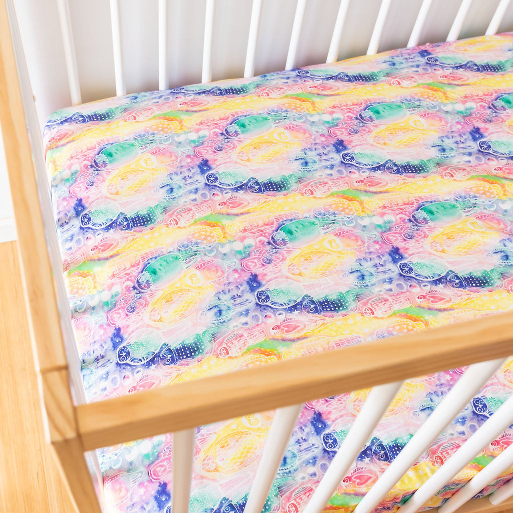 Rainbow Moon Cot Sheets