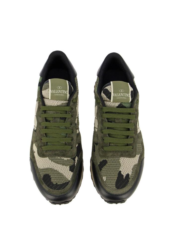 Valentino Rockrunner Camouflage Trainers in Army Green