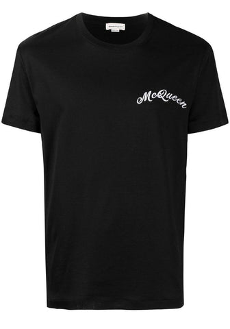 Alexander McQueen Embroidered Logo T-Shirt In Black