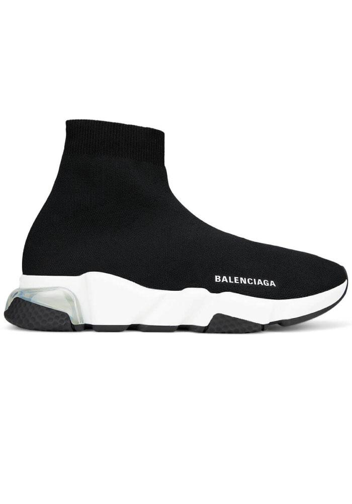 Balenciaga Clear Sole Speed Sock Trainers in Black/White