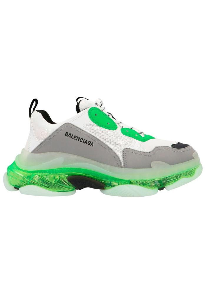 Balenciaga Triple S Clear Sole Trainers in White/Green