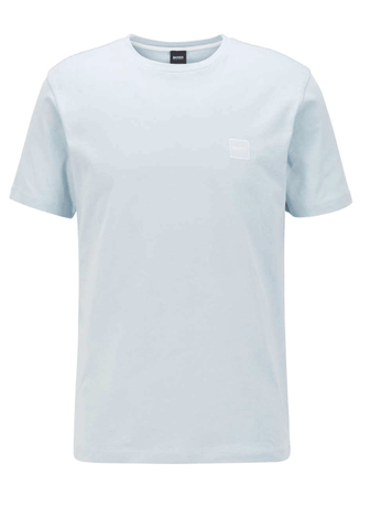 Hugo Boss Logo Patch Crewneck T-Shirt In Light Blue