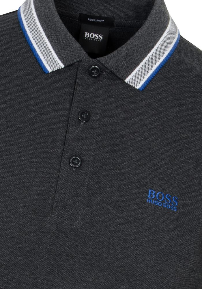 Hugo Boss Paddy Polo In Charcoal Grey/Blue