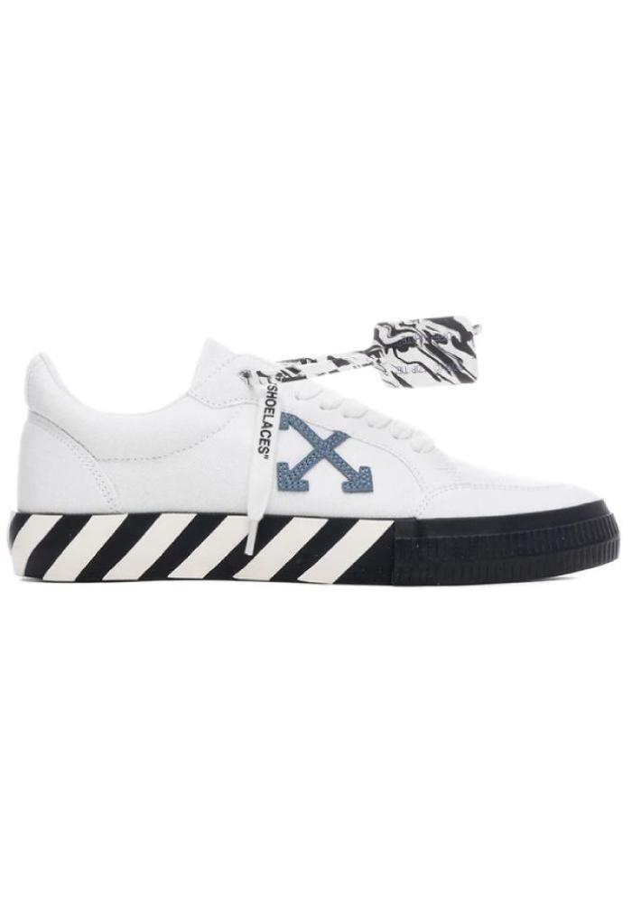 Off-White Low Vulcanised Canvas Sneakers In White/Blue