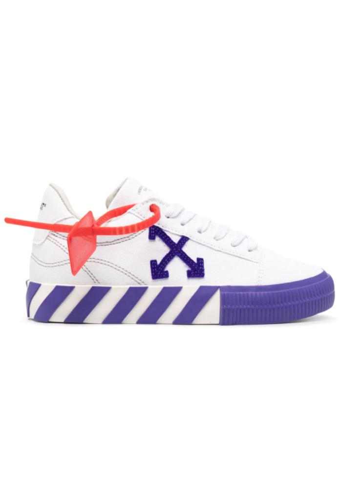 Off-White Low Vulcanised Canvas Sneakers In White/Violet