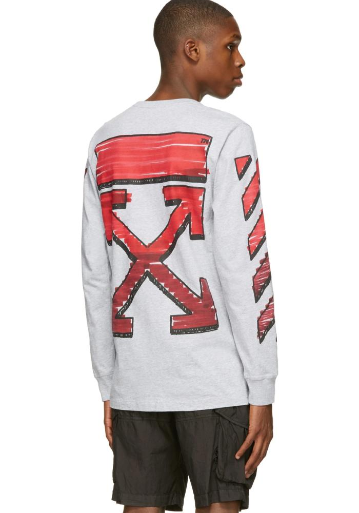 Off-White Marker Logo Long Sleeve T-Shirt In Grey