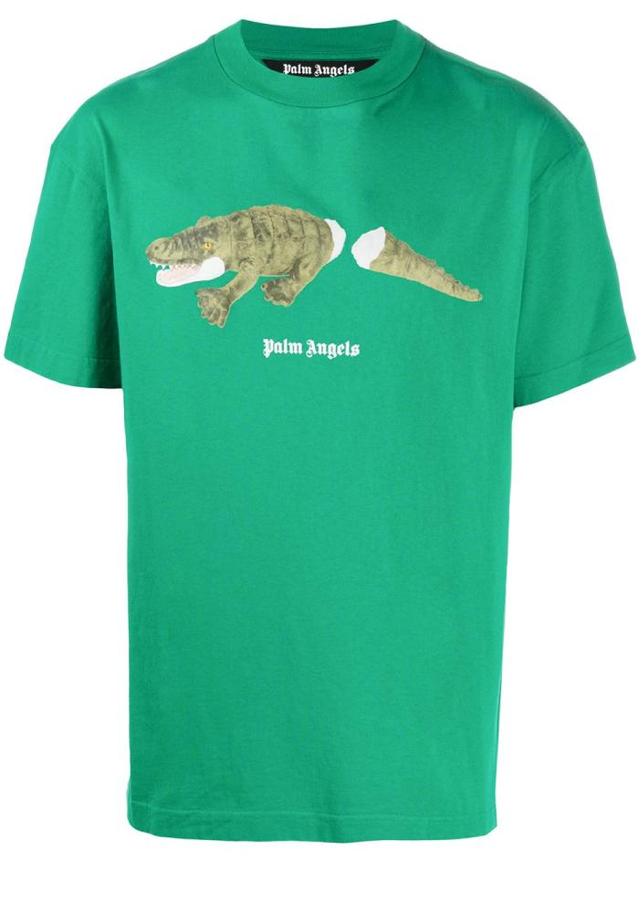 Palm Angels Crocodile Logo T-Shirt In Forest Green