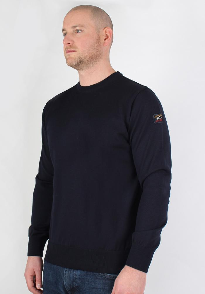 Paul & Shark Fine Wool Knit Sweatshirt In Navy