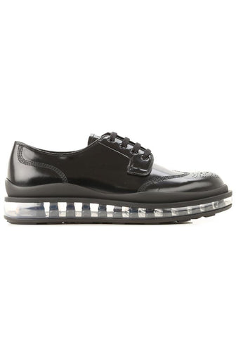 Prada Air Sole Leather Derby Shoes In Black