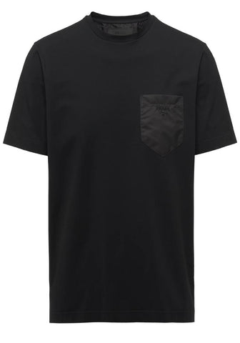 Prada Nylon Patch Logo Cotton T-Shirt In Black