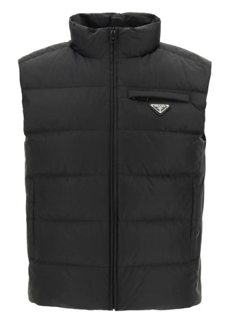 Prada Plaque Logo Down Gilet In Black