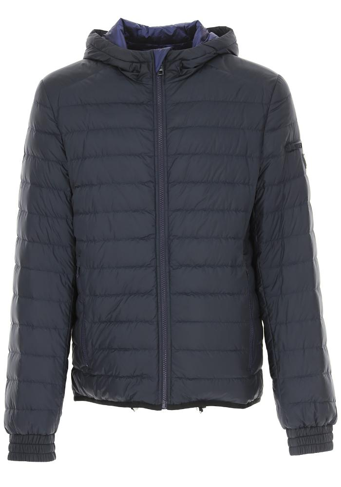 Prada Plaque Logo Hooded Puffer Jacket In Navy