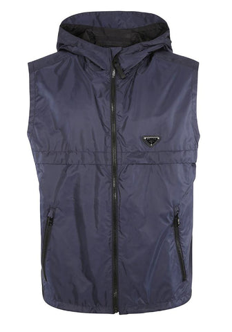 Prada Plaque Logo Nylon Gilet In Navy