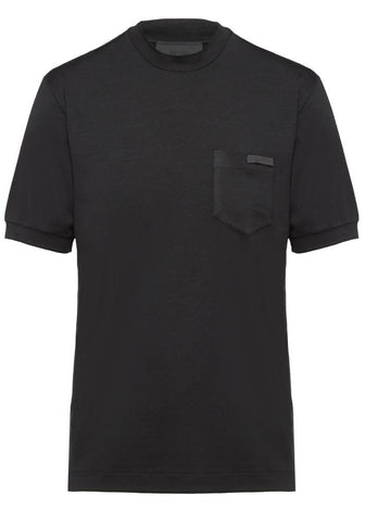 Prada Silk Jersey Logo T-Shirt In Black