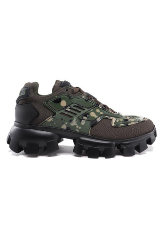 Prada Technical Fabric Cloudburst Thunder Trainers In Army Green Camo