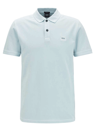 Hugo Boss Slim-Fit Washed Cotton Piqué Polo Shirt In Light Blue