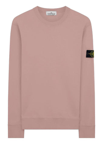 Stone Island Garment Dyed Crewneck Sweatshirt In Rose Pink - 63051