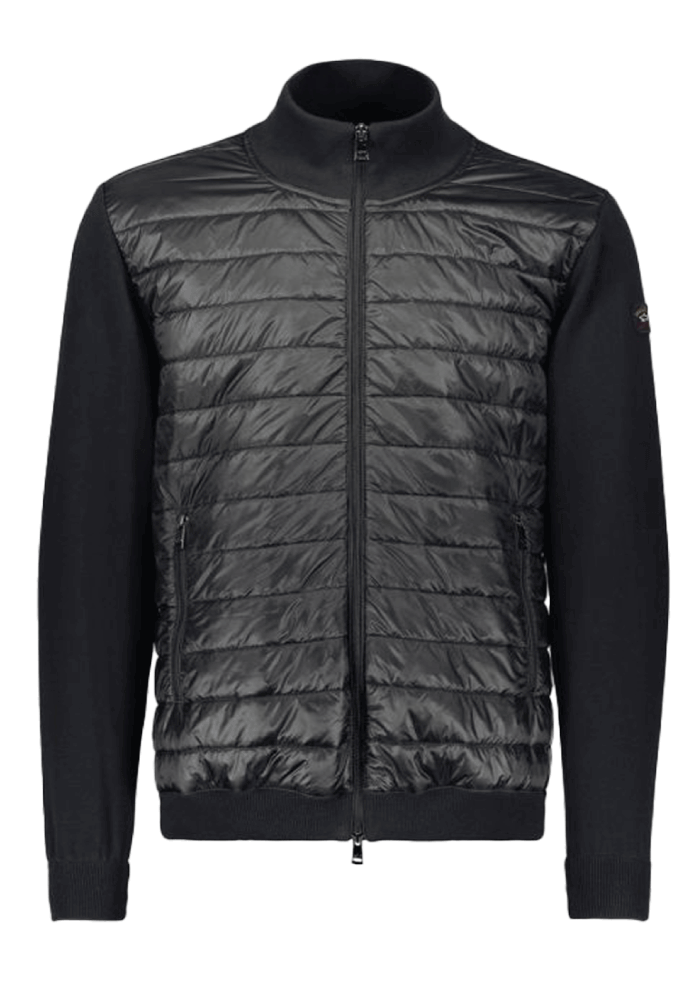 Paul & Shark Cool Touch & Quilted Fabric Hybrid Jacket In Black