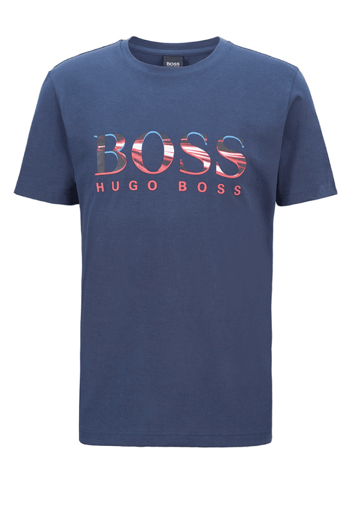 Hugo Boss Photo Print Logo T-Shirt In Navy