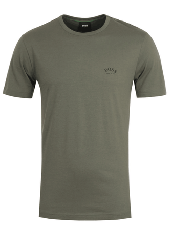 Hugo Boss Curved Logo T-Shirt In Green