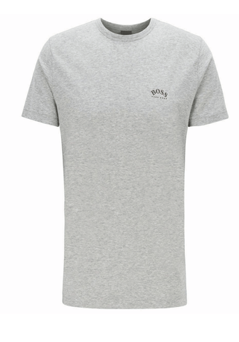 Hugo Boss Curved Logo T-Shirt In Grey