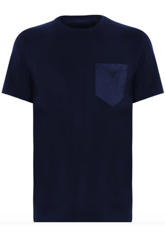 Prada Nylon Patch Logo Cotton T-Shirt In Navy
