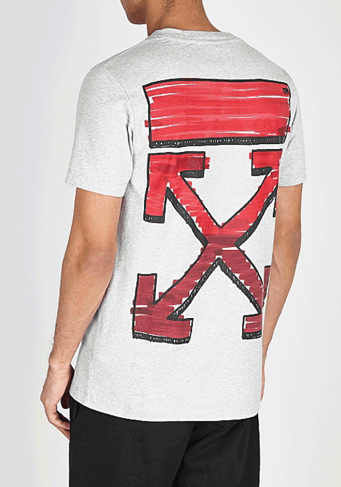 Off-White Marker Logo Slim T-Shirt In Grey