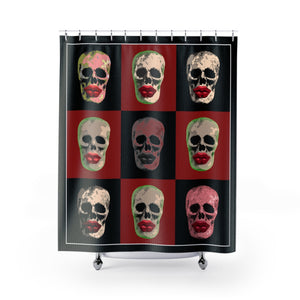 Skull and Lips Checkerboard Polyester Shower Curtain - sasyjamdesigns