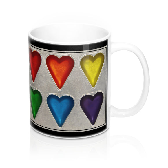 Rainbow Hearts Ceramic Mug - sasyjamdesigns