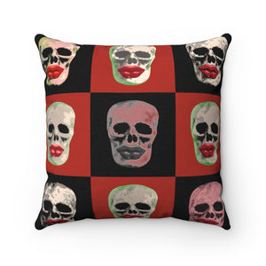Skull and Lips Checkerboard Square Throw Pillow - sasyjamdesigns