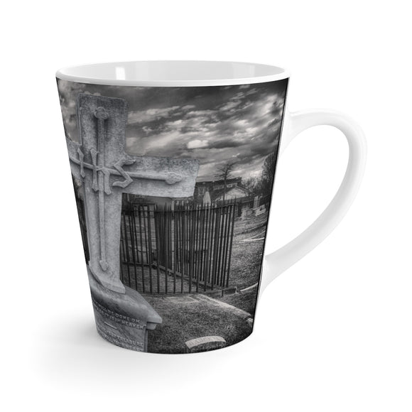 Gothic Cemetery Cross Latte Ceramic Mug - sasyjamdesigns
