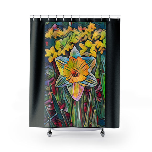 Daffodil Modern Art Polyester Shower Curtain - sasyjamdesigns