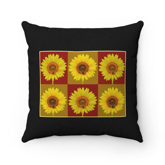 Sunflower Checkerboard Square Throw Pillow Black - sasyjamdesigns