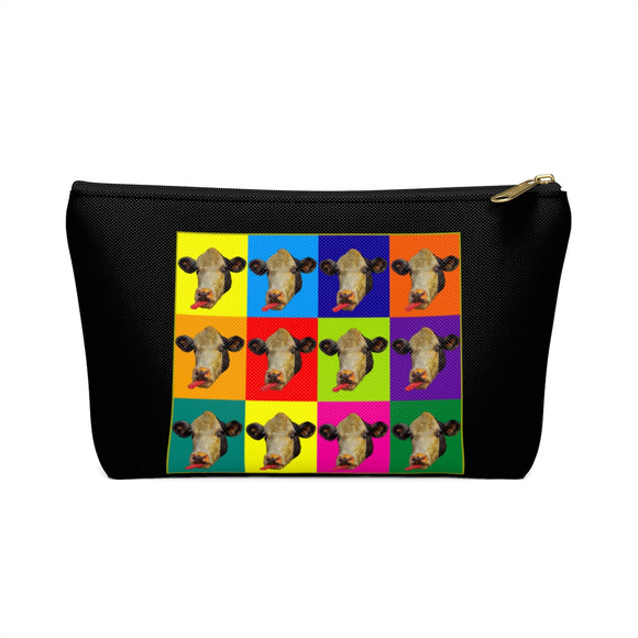 Checkerboard Cow Heads T-Bottom Accessory Pouch / Makeup Bag - sasyjamdesigns
