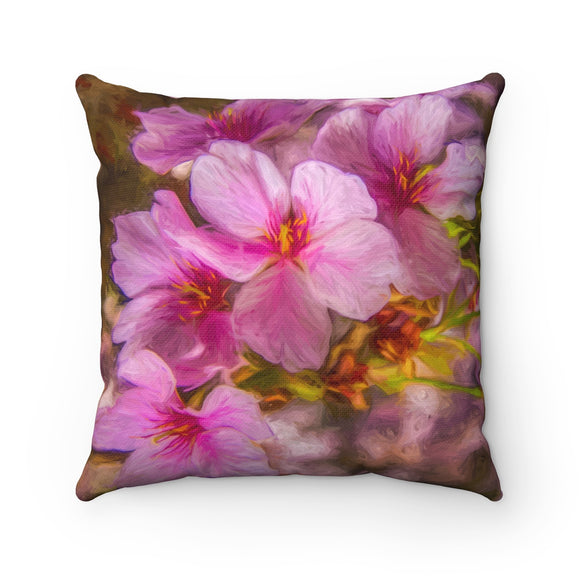 Cherry Blossom Spun Polyester Square Pillow - sasyjamdesigns
