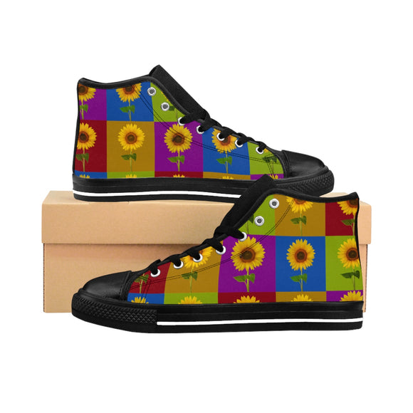 Sunflower Checkerboard Women's High-Top Sneaker - sasyjamdesigns