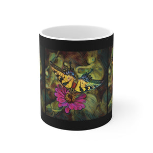 Pale Swallowtail Butterfly on Zinnia Flower Ceramic Mug - sasyjamdesigns