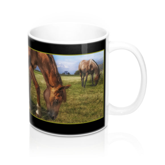 Two Horses Grazing Ceramic Mug - sasyjamdesigns