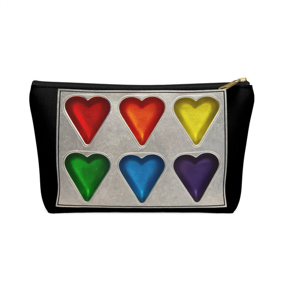 Rainbow Hearts T-bottom Accessory Pouch / Makeup Bag - sasyjamdesigns