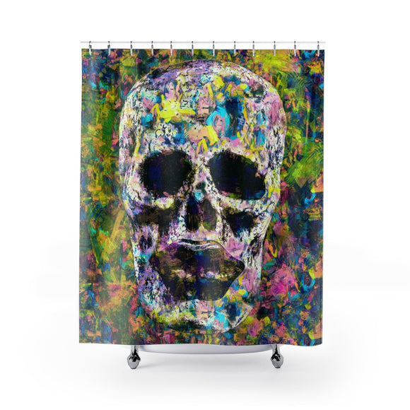 Skull and Lips Modern Art Polyester Shower Curtain - sasyjamdesigns