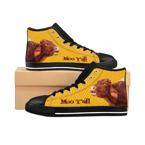 Moo Y'all Women's High-Top Nylon Canvas Sneakers - sasyjamdesigns