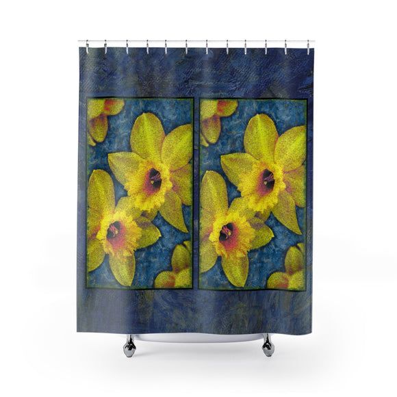 Painted Daffodil Polyester Shower Curtain Limited Edition Blue - sasyjamdesigns