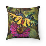 Pale Swallowtail Butterfly on Zinnia Flower Square Throw Pillow - sasyjamdesigns