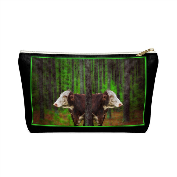 Cows in the Forest T-bottom Accessory Pouch / Makeup Bag - sasyjamdesigns
