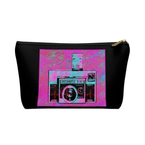 Vintage Camera T-bottom Accessory Pouch / Makeup Bag Black - sasyjamdesigns