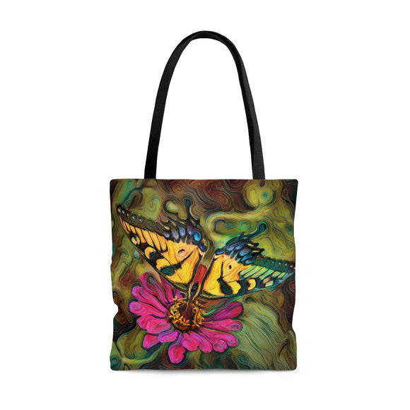 Pale Swallowtail Butterfly on Zinnia Flower Tote Bag - sasyjamdesigns